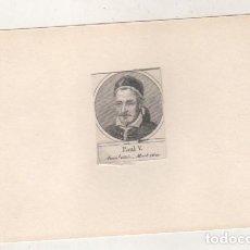 Postales: GRABADO MONTADO EN CARTULINA DEL PAPA PAUL V. Lote 183829920