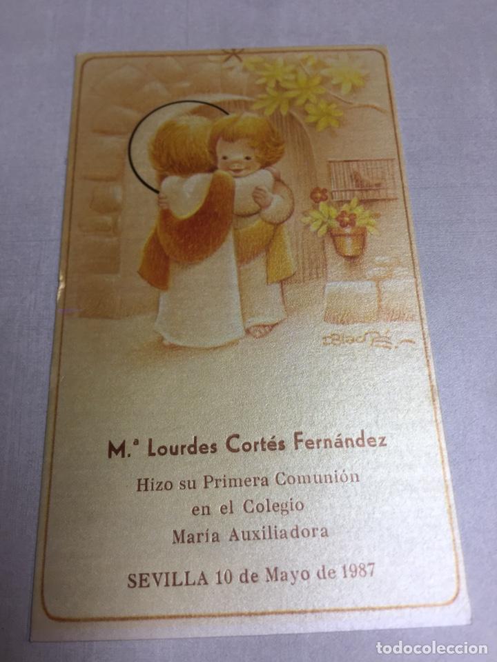 ESTAMPA DE 1ª COMUNION - SEVILLA 1987 - 7.5X12.5CM (Postales - Postales Temáticas - Religiosas y Recordatorios)