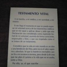 Postales: RECORDATORIO TESTAMENTO VITAL CRISTIANO. VER FOTOS. . Lote 184781530