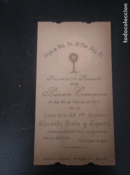 RECORDATORIO PRIMERA COMUNIÓN 1911 (Postales - Postales Temáticas - Religiosas y Recordatorios)