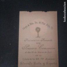 Postales: RECORDATORIO PRIMERA COMUNIÓN 1911. Lote 185681313