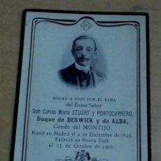 Postales: RECORDATORIO DEFUNCIÓN CARLOS MARÍA STUART Y PORTOCARRERO DUQUE DE BERWICK Y DE ALBA AÑO 1901. Lote 185895742