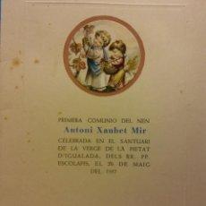 Postales: RECUERDO DE PRIMERA COMUNIÓN ANTONI XAUBET MIR. IGUALADA, 1957. DÍPTICO . Lote 185991383