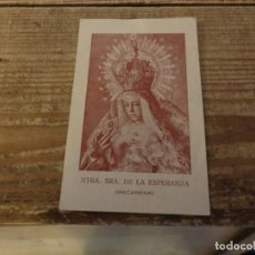 Postales: SEMANA SANTA SEVILLA, RARA ESTAMPA ESPERANZA MACARENA, POST GUERRA. Lote 187688471