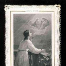 Postales: ESTAMPA RELIGIOSA DE PUNTILLA TROQUELADA CALADA: Y YO TAMBIEN TENGO ESTA ESPERANZA. Lote 189147767
