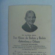Postales: RECORDATORIO FALLECIMIENTO DE ALFONSO DE BORBON ( HERMANO DE JUAN CARLOS ), CON VIRGEN SEVILLA, 1956. Lote 191130190