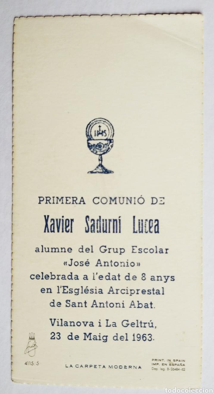 Postales: Estampa recuerdo recordatorio comunión año 1963 - Foto 2 - 191225230