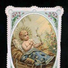 Postales: ESTAMPA DE PUNTILLA TROQUELADA CALADA: NIÑO JESUS EN EL PESEBRE. PERFILES DORADOS. Lote 191574957