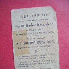 Postales: APRONIANO ANDRES ORTEGA.-SUPERIOR DE JEREZ DE LOS CABALLEROS.-BADAJOZ.-RECUERDO.-CAZORLA.-AÑO 1951.. Lote 192009908