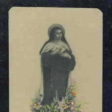 Postales: ESTAMPA RELIGIOSA DE CELULOIDE: SANTA TERESA DE JESUS. ILUMNINADA A MANO. ESTAMPERIA SOLÁ. Lote 192093057