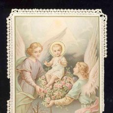 Postales: ESTAMPA RELIGIOSA DE PUNTILLA TROQUELADA CALADA: NIÑO JESUS, ANGELES. Lote 192093352