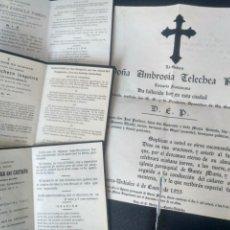 Postales: LOTE 3 RECORDATORIOS Y UNA ESQUELA. AÑOS 20 Y 30. CASTRO URDIALES CANTABRIA. Lote 193064112
