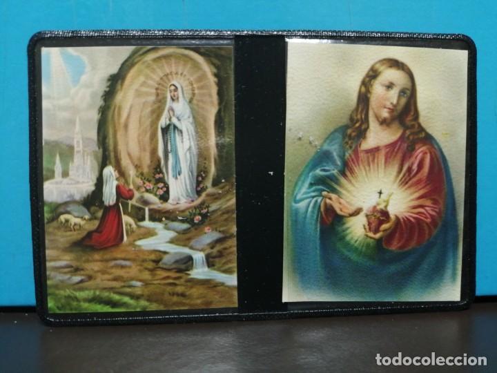 ESTAMPA RELIGIOSA VIRGEN DE LOURDES CON ARCHIVADOR (Postales - Postales Temáticas - Religiosas y Recordatorios)