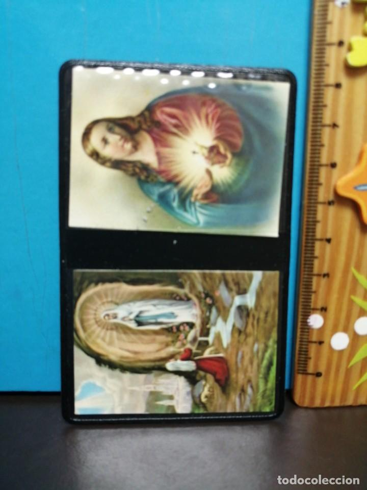 Postales: ESTAMPA RELIGIOSA VIRGEN DE LOURDES CON ARCHIVADOR - Foto 3 - 193870035