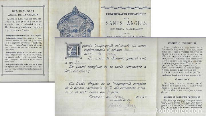 TRIPTIC ANY 1917 * CONGREGACIÓ EUCARÍSTICA DELS SANTS ANGELS * TARRASSA (Postales - Postales Temáticas - Religiosas y Recordatorios)