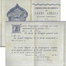 Postales: TRIPTIC ANY 1917 * CONGREGACIÓ EUCARÍSTICA DELS SANTS ANGELS * TARRASSA. Lote 194229582