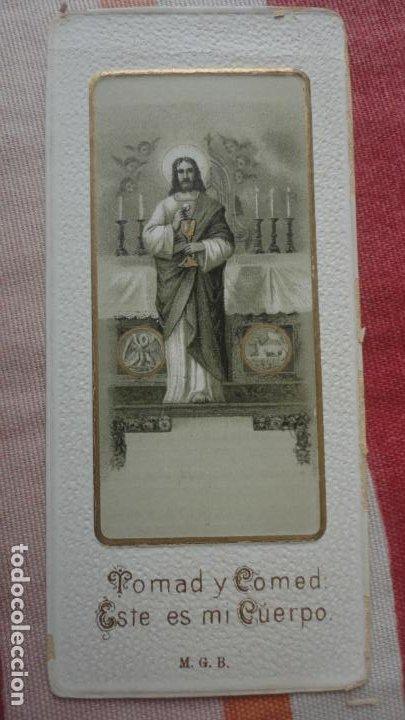 Postales: RECUERDO PRIMERA COMUNION.MARIA DE LA ASUNCION Y ANTONIO PUJOL BORRAS.LERIDA 1916 - Foto 2 - 194231643