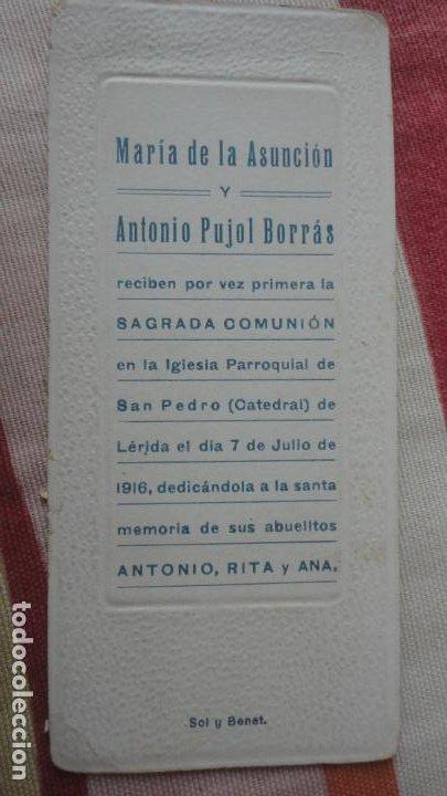 RECUERDO PRIMERA COMUNION.MARIA DE LA ASUNCION Y ANTONIO PUJOL BORRAS.LERIDA 1916 (Postales - Postales Temáticas - Religiosas y Recordatorios)