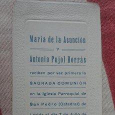 Postales: RECUERDO PRIMERA COMUNION.MARIA DE LA ASUNCION Y ANTONIO PUJOL BORRAS.LERIDA 1916. Lote 194231643