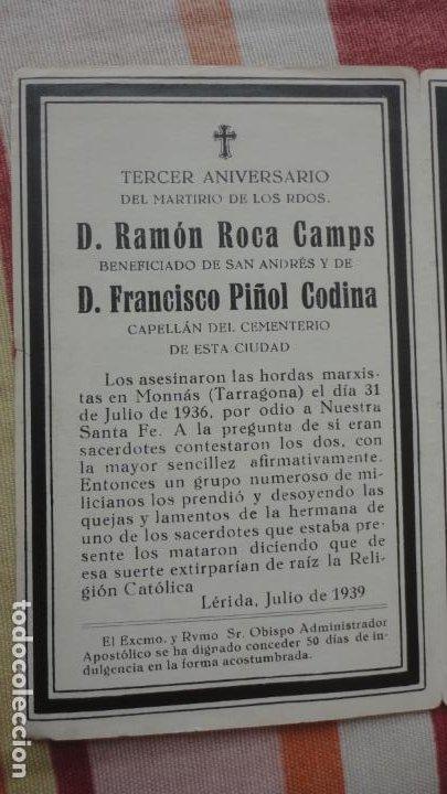 RECUERDO FUNERAL.D.RAMON ROCA CAMPS-FRANCISCO PIÑOL CODINA.ASESINADOS GUERRA CIVIL.LERIDA 1936-39 (Postales - Postales Temáticas - Religiosas y Recordatorios)