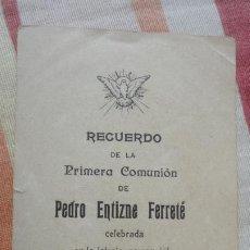 Postales: RECUERDO PRIMERA COMUNION.PEDRO ENTIZNE FERRETÉ.TARRAGONA 1910. Lote 194233281