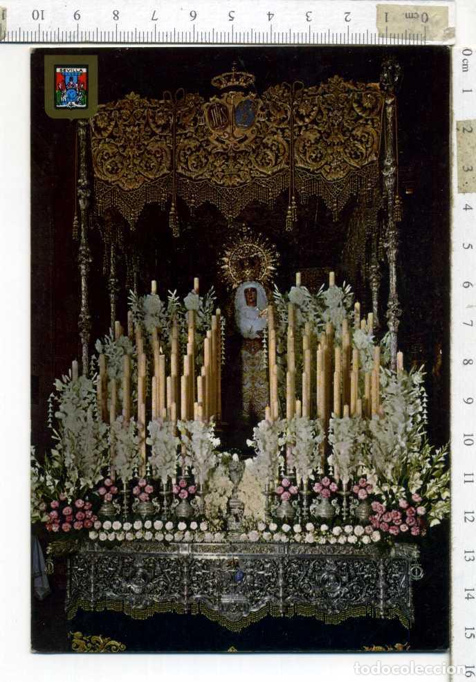TARJETA POSTAL CIRCULADA , ESPERANZA DE TRIANA SEMANA SANTA DE SEVILLA. ESCUDO DE ORO (Postales - Postales Temáticas - Religiosas y Recordatorios)