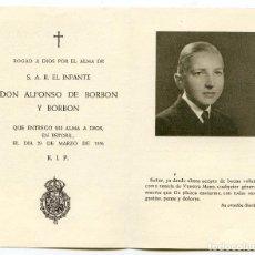 Postales: RECORDATORIO DEL INFANTE DON ALFONSO DE BORBÓN Y BORBÓN, HERMANO DEL REY JUAN CARLOS 1956. Lote 194266887