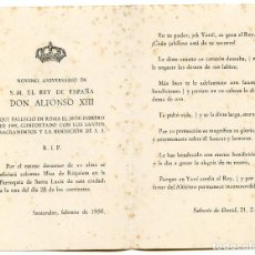Postales: RECORDATORIO DEL REY ALFONSO XIII, NOVENO ANIVERSARIO, SANTANDER 1950. Lote 194267527