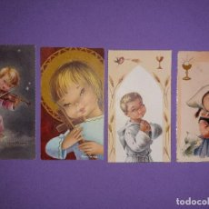Postales: LOTE 4 ESTAMPAS DIFERENTES BORDE DORADO AÑOS 1059 1965 FIRMA CONSTANZA. Lote 194315583