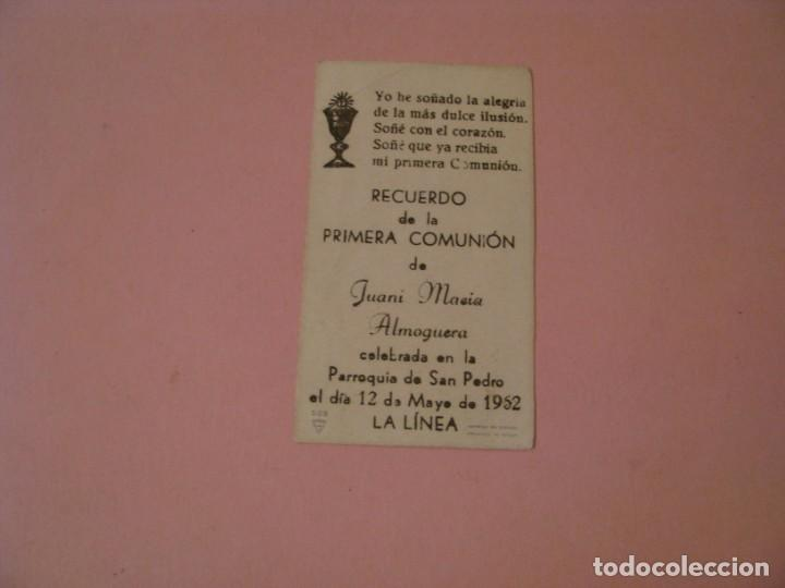 Postales: RECORDATORIO DE LA PRIMERA COMUNIÓN. ED. FS. LA LINEA. 1952. - Foto 2 - 194347641
