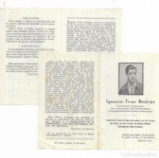 Postales: RECORDATORIO DÍPTICO * IGNACIO TRIAS BERTRÁN * -FUSILADO EN EL CASTILLO DE MONTJUICH -. Lote 194489935