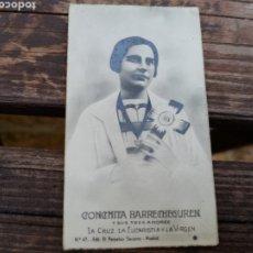 Postales: ANTIGUA ESTAMPA CONCHITA BARRECHEGUREN Y SUS TRES AMORES, LA CRUZ, LA EUCARISTÍA Y LA VIRGEN. Lote 194496901