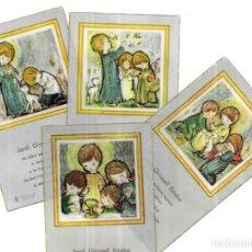 Postales: 4 RECORDATORIOS COMUNIÓN SALMONS -1966 -FIGUERES. Lote 194647568
