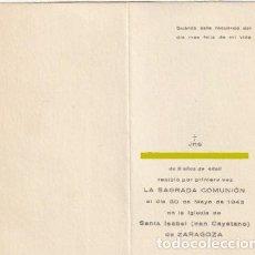 Postales: ESTAMPA DIPTICO PRIMERA COMUNION IGLESIA SANTA ISABEL ( SAN CAYETANO ) ZARAGOZA 1943 -R-8. Lote 194716908