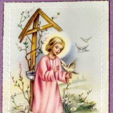 Postales: ANTIGUA ESTAMPA RELIGIOSA RECUERDO DE LA PRIMERA COMUNIÓN DE 1957, ESFORMATO 10,5X6 CM. APROX.. Lote 194741315