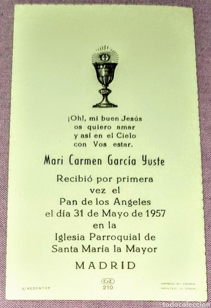 Postales: Antigua estampa religiosa Recuerdo de la Primera Comunión de 1957, Formato 10,5X6 cm. Aprox. - Foto 2 - 194741410
