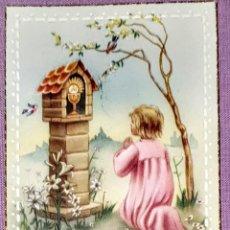 Postales: ANTIGUA ESTAMPA RELIGIOSA RECUERDO DE LA PRIMERA COMUNIÓN DE 1957, FORMATO 10,5X6 CM. APROX.. Lote 194741410
