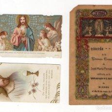 Postales: MIERES. TRES RECORDATORIOS PRIMERA COMUNION . 1922 Y 1929. ASTURIAS. Lote 194766821
