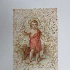 Postales: ESTAMPA A PUNTILLA - NIÑO JESÚS, SAN JUANITO - BOUASSE-LEBEL, PARÍS - S. XIX. Lote 194767543