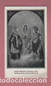 ESTAMPA DE LOS SANTOS MAURICIO, FRUCTOSO E INÉS PATRONOS DE LA CIUDAD DE MANRESA (Postales - Postales Temáticas - Religiosas y Recordatorios)