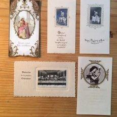 Postales: 5 RECORDATORIOS PRIMERA COMUNION AÑOS 1919; 1921; 1933; 1926 Y 1940. Lote 195124701