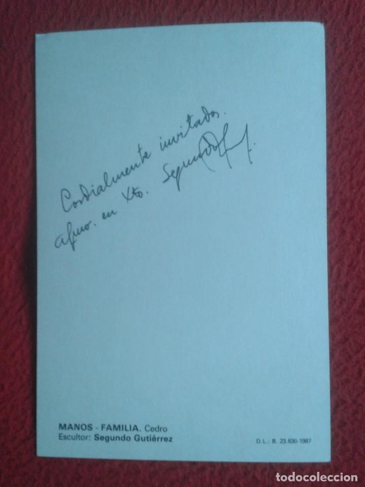 Postales: TARJETA TIPO POSTAL CARD RECORDATORIO RELIGIÓN ? MANOS FAMILIA CEDRO ESCULTOR SEGUNDO GUTIÉRREZ 1987 - Foto 2 - 195367210