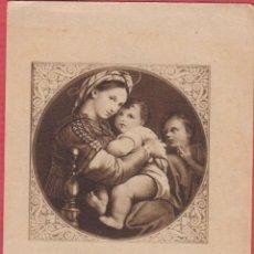 Postales: ESTAMPA RELIGIOSA LA MADRE Y EL NIÑO EST.3800. Lote 195447536