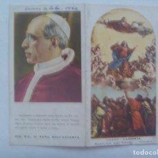Postales: ESTAMPA DE SS. PIO XII Y LA ASUNCION DE LA VIRGEN. ITALIA, AÑOS 50. RECUERDO VIAJE A VENECIA EN 1962. Lote 195451621