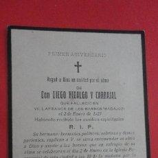 Postales: RECUERDO FUNERAL.D.DIEGO HIDALGO Y CARBAJAL.VILLAFRANCA DE LOS BARROS.BADAJOZ 1923. Lote 195473815