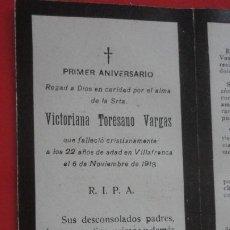 Postales: RECUERDO FUNERAL.Dª VICTORIANA TORESANA VARGAS.VILLAFRANCA DE LOS BARROS.BADAJOZ 1918. Lote 195473873
