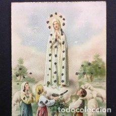 Postales: PRECIOSA Y UNICA POSTAL VIRGEN DE FATIMA CON PEDRERIA BORDADA, AÑOS 20,. Lote 195497700