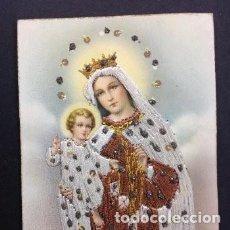 Postales: IMPRESIONANTE Y UNICA VIRGEN DEL CARMEN BORDADA A HILO Y PEDRERIA AÑOS 20 PRECIOSA Y UNICA. Lote 195498550