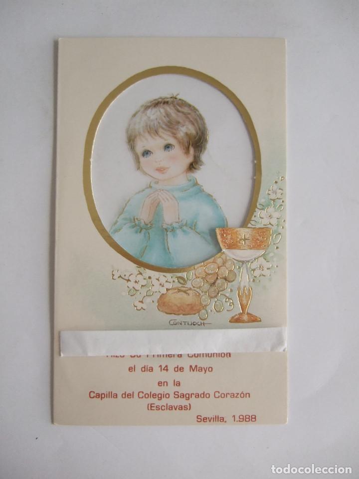 ESTAMPA RECORDATORIO COMUNION - SEVILLA 1988 - SUBI 8301-2 - ILUSTRADO POR CONTIJOCH (Postales - Postales Temáticas - Religiosas y Recordatorios)