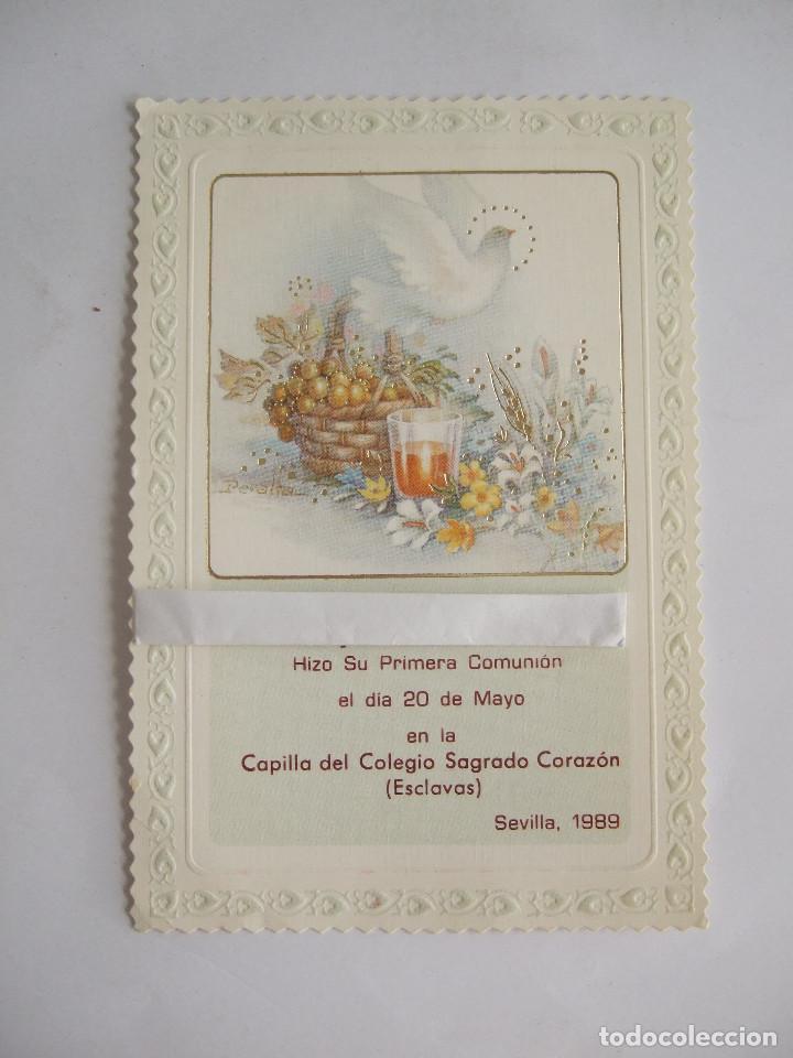 ESTAMPA RECORDATORIO COMUNION - SEVILLA 1989 - CYZ 5757/56-B - ILUSTRADO POR PERALTA (Postales - Postales Temáticas - Religiosas y Recordatorios)